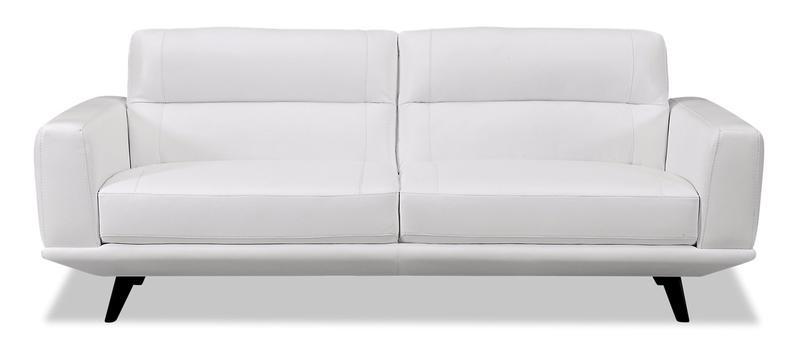 Kendra Genuine Leather Sofa - Arctic White | The Brick