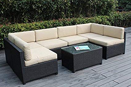 Amazon.com: Ohana Mezzo 7-Piece Outdoor Wicker Patio Furniture