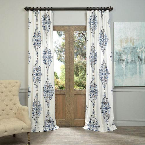 Half Price Drapes Kerala Blue 96 X 50 Inch Printed Cotton Twill