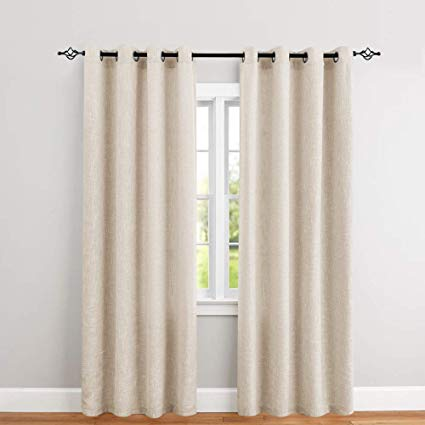 Amazon.com: jinchan Burlap Linen Window Curtains for Bedroom Window