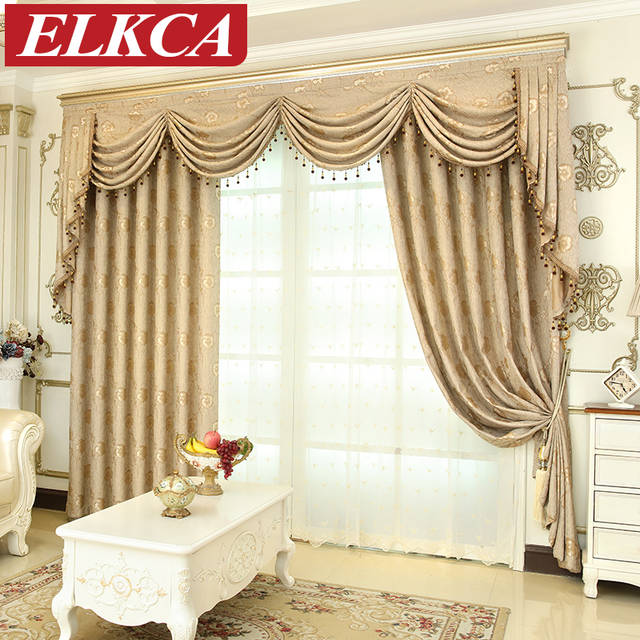 Online Shop European Luxury Window Curtains for Living Room Bedroom