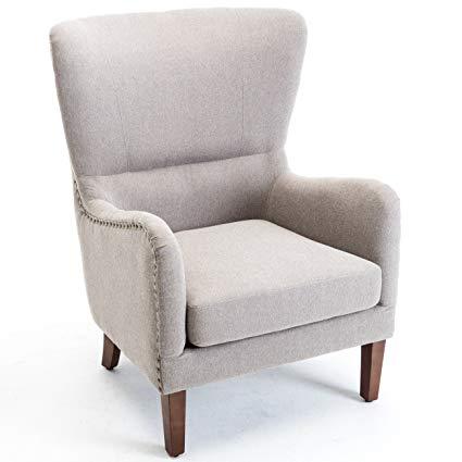 Amazon.com: Belleze Mid-Century Wingback Chair Nailhead Trim Living