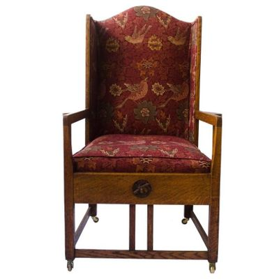 Antique Oak Wingback Armchair for sale at Pamono