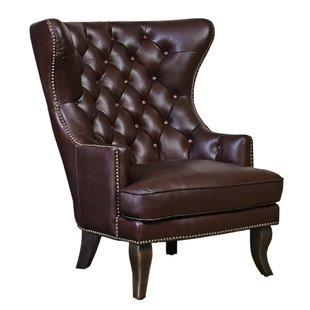Solomon Leather Wingback Chair | Wayfair