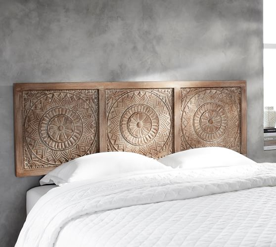 Alia Carved Wood Headboard | Pottery Barn