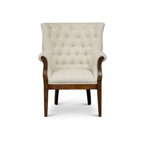 One Allium Way Blanca Fabric Upholstered Wooden Armchair | Wayfair