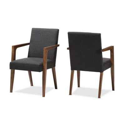 Set Of 2 Andrea Mid - Century Modern Upholstered Wooden Armchair