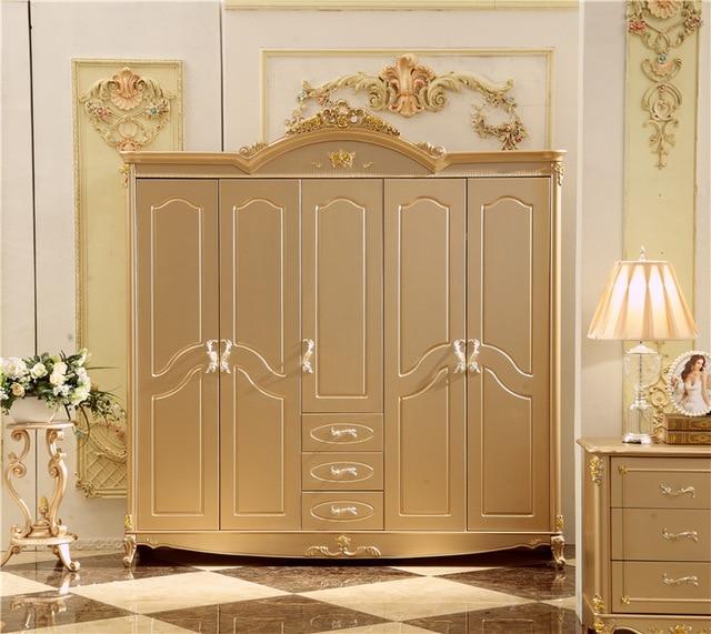 Antique Solid Wood Wardrobe Design Wooden Bedroom Furniture 5 doors