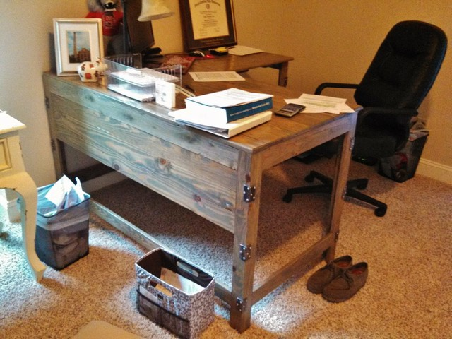 Industrial-Rustic Fusion Reclaimed Wood Desk - Industrial - Home