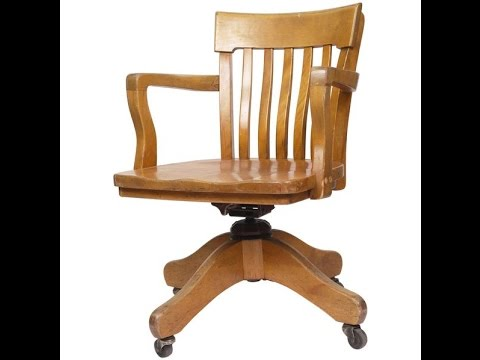Wood Office Chair~Antique Wood Office Chair - YouTube
