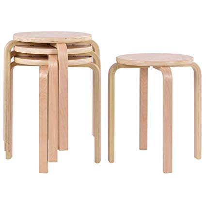 Amazon.com: COSTWAY 17-inch Bentwood Stools Backless Round Top