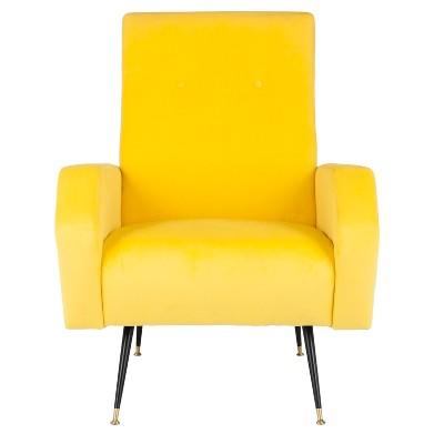 Aida Mid-Century Arm Chair - Yellow Velvet - Safavieh® : Target